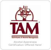 TAM - alcohol awareness certification offered here!